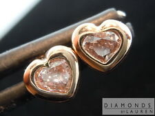 .39ctw Light Pink SI2 Heart Shape Diamond Stud Earrings R7591 Diamonds By Lauren