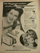 Rosalind Russell, Lux Toilet Soap, Full Page Vintage Print Ad