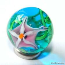22mm Aqua Lily Glass Art Toy Marble & Stand - Stunning Handmade Collectors Piece