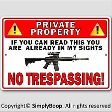 "Private Property No Trespassing Gun Owner Aluminum Security Sign 8""x12"" New"