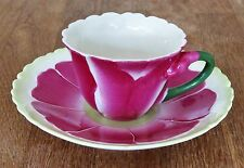 Art Deco Style teacup - Twos Company Bright Pink Flower Bold Green