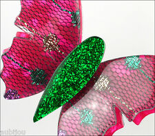 LEA STEIN PARIS DOUBLE WINGED FUCHSIA BUTTERFLY INSECT BROOCH PIN FRANCE RESIN