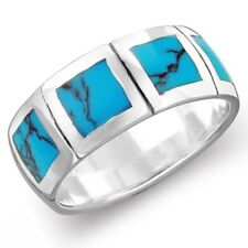Sterling Silver 8mm Turquoise Men Women Engagement Wedding Band Ring - Size 8