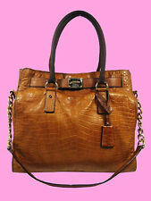 MICHAEL Michael Kors HAMILTON N/S Brown Genuine Croc Leather Tot Bag Msrp $448
