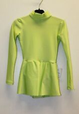 Green Spandex Gymnastic Long Sleeve High Collar Girl's Leotard / Skirt Size XS