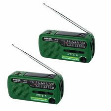 2x DEGEN DE13 Digital World Radio FM MW SW Crank Dynamo Solar Radio Phone Charge