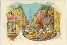 1 VINTAGE FRENCH PASTRY DUCK APPETIZER EIFFLE TOWER OYSTER STEW RECIPE ART PRINT