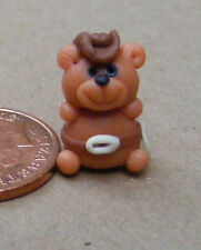1:12 Polymer Clay Teddy Bear Cowboy Doll House Miniature Garden Accessory LB11
