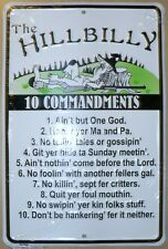 THE HILLBILLY 10 COMMANDMENTS PARKING SIGN SMALL