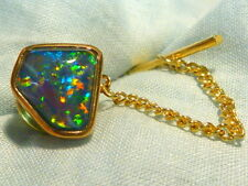 14ct Yellow Gold Mens Tie Tack Free Form Triplet Opal item 60129