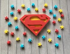 Handmade Edible Sugarpaste SUPERMAN Cake Topper & 50 Stars - Superhero birthday