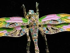 "PASTEL PINK RHINESTONE FLYING DRAGONFLY BUG INSECT PIN BROOCH PENDANT 4.25"" MOVE"