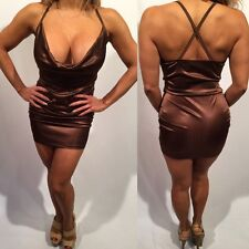Connie's Brown Satin Look Micro Mini dress Size S