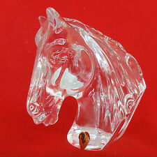 """HORSE HEAD crystal Ireland Waterford NEW NEVER SOLD signed green tag 5"""" tall"""