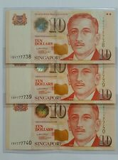 Singapore $10 Paper Portrait Series Banknote LHL 3pcs Rn Fancy Number UNC