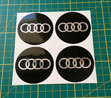 4 x 55mm ALLOY WHEEL STICKERS audi logo Chrome Effect on Black centre cap badge