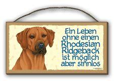 Una vita senza Rhodesian Ridgeback-Targhetta in legno MDF 25x12,5 cm 44 cani SCUDO