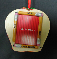 A++ Teacher Red Apple Photo Frame Holiday Christmas Ornament New Free USA Ship