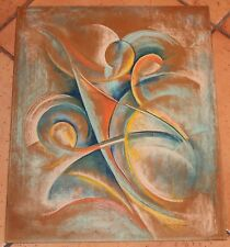 Vintage Signed Abstract Expressionist Pastel Drawing w Curves Spirals 16 X 20