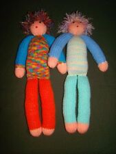 Lot of (2) Homemade Handcrafted Crochet Knit Stuffed Yarn Dolls 18""