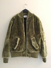 NEW The New County Urban Outfitters Olive  Fur Bomber Jacket Men's Women's Top