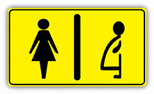 """Restroom Women And Pregnant Toilet Sign Car Bumper Sticker Decal 6"""" x 3"""""""