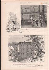 MAISON DE  Michel-Eugène Chevreul CHIMISTE CENTENAIRE 1886 GRAVURE PRINT