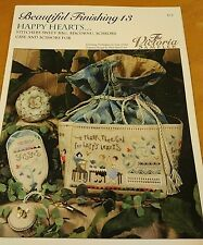 BEAUTIFUL FINISHING 13 HAPPY HEARTS PLUS CROSS STITCH CHART VICTORIA SAMPLER
