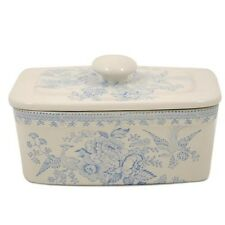 New Burleigh Asiatic Pheasants blue & white china butter dish 400g