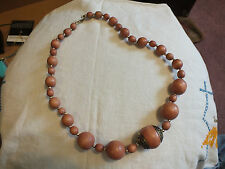 Beautiful Chunky Beaded Necklace Wood Gold Beads 24 Inches Light Brown NICE