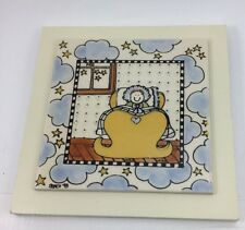 Nursery Tile by Nancii '93 Baby in Yellow Cribs Blue Clouds Stars on Wood