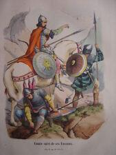 Gravure d'un COMTE à cheval suivi de ses VASSAUX  8ème au 9ème siècle