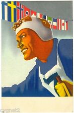 POSTCARD FINLAND 1938 NORDIC WORLD SKI CHAMPIONSHIP SKIER NATIONAL FLAGS