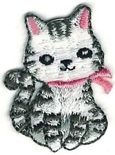 """1 1/8"""" x 1 3/8"""" Cartoon Grey Gray Tabby Cat Embroidered Patch"""