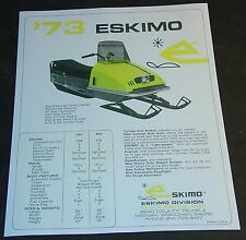 VINTAGE 1973 ESKIMO SNOWMOBILE SALES BROCHURE COPY SINGLE PAGE