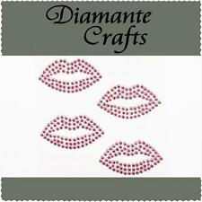 4 Light Pink Diamante Lips Vajazzle Rhinestone Body Art Self Adhesive Gems
