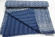 Kantha Quilt indigo Ikat Throw Indian Queen Size Bed Spread Blanket Bed Cover