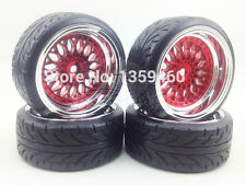 4x 1/10 BBS BMW STYLE RED CHROME RC DRIFT WHEEL TYRE SET 6mm OS / 12mm HEX. NEW