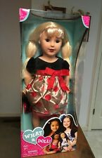 """What A Doll 18"""" Blonde Hair Blue Eyes Red Party Dress American Holiday Girl Toy"""