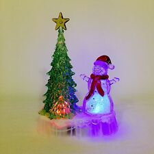 19cm Acrylic Snowman Christmas Decoration Battery Operated Colour Changing LED *
