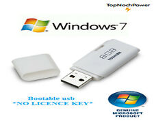 "Windows 7 64 & 32 bit Bootable USB Contains Home and Pro ""No Key"""