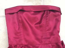 Elegant classic strapless  long dark claret red satin ball /evening dress 10