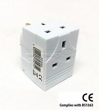 3 WAY GANG BLOCK TRIPLE SOCKET SPLITTER 13A MAINS UK PLUG ADAPTOR FUSE FUSED