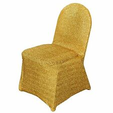 10 Gold Metallic Spandex CHAIR COVERS Slipcovers Wedding Party Decorations
