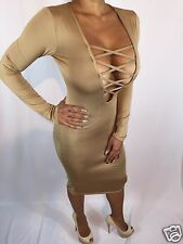 Tan Nude Gold Stretch Long Sleeve Criss Cross Chest Cocktail Party Dress XXL