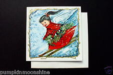 Unused Charlot Byj Byi Xmas Greeting Card Angel in Red Snow Skiing Down Hill
