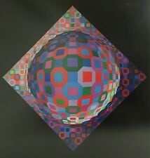 VICTOR VASARELY LITHOGRAPH VINTAGE OPTICAL OP ART 3D Mid Century Modern 1970s