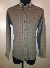 Mens ROUGH STOCK by PAN HANDLE SLIM Large Heavy Cotton Tan Shirt GUC