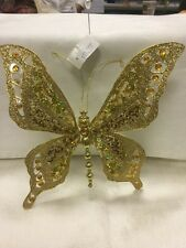 GOLD GLITTERED BUTTERFLY w/ TREE CLIP & FAUX FACETED JEWELS CHRISTMAS ORNAMENT