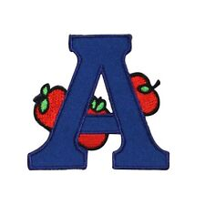 ID 0991 Letter A is for Apple School Reading Embroidered Iron On Applique Patch